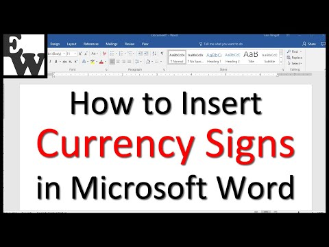 How to Insert Currency Signs in Microsoft Word