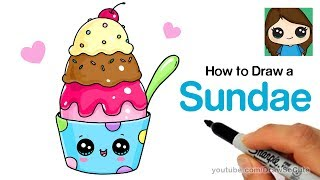 How to Draw an Ice Cream Sundae Easy and Cute