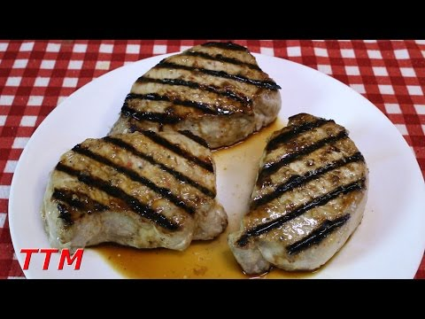 Stovetop Grilled Pork Loin New York Chops on the Cast Iron Grill
