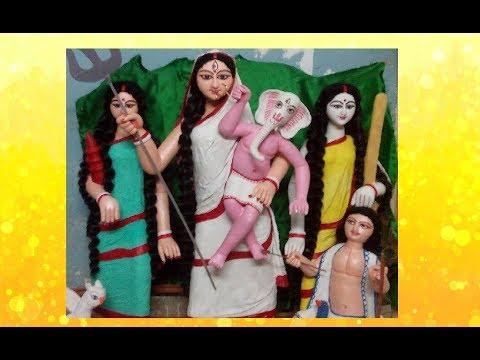 Me Making clay idol of Ganesh janani Durga