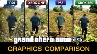 Grand Theft Auto V - PS4 vs Xbox One vs PS3 vs Xbox 360 Mega Comparison in Full HD (1080p) by GTA Series Videos [No Spoiler]  WATCH THE COMPARISON OF GTA 5 PC: http://youtu.be/Q-chg06T55Q  All in-game footage from PS4, Xbox One and Xbox 360 has been captured with the same device (Elgato Game Capture HD60) with default settings, while for PS3 version we used Blackmagic Intensity Pro due to HDCP encryption. The resolution of Xbox 360 and PS3 versions has been upscaled to 1080p to match the PS4 and Xbox One versions. We also used default game settings and console settings on all platforms.  In our opinion, the graphics are practically the same for both the Xbox One and the PS4. The only difference is that Xbox One has a darker contrast - which is something you can also set on PS4 by enabling the Full RBG Range in the Video Output settings. We tried to do that and we can assure you that the game looks identical on both versions.  We have only noticed that on PS4 there