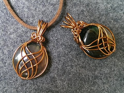 pendant with big stone no holes - wire wrap jewelry making 242
