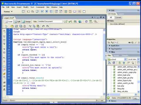 Java Script TUTORIALS: Validate form: Textboxes, select , check box, EMAIL validation PART 1