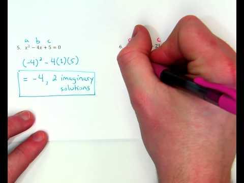 Quadratics - Discriminant w/ 0 real / 2 imaginary solutions