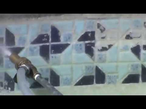INSTRUCTION 26. Pool Tile Cleaning Demo 5.  Mr. Hard Water Pool Tile Cleaning Blast Kits