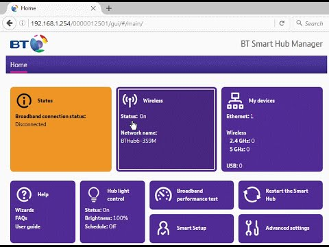 Web admin interface of the BT Smart Hub (BT Home Hub 6) router. How do you turn off wifi?