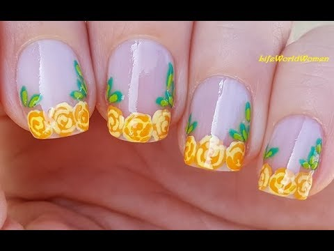 FRENCH MANICURE DESIGNS #13 / Yellow Roses NAIL TIPS Using TOOTHPICK