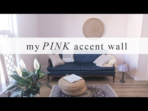 PINK! Accent Wall | My Living Room Makeover