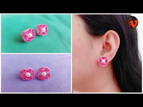 How To Make Quilling Stud Earrings Tutorial / Paper Quilling Earrings / Design 27