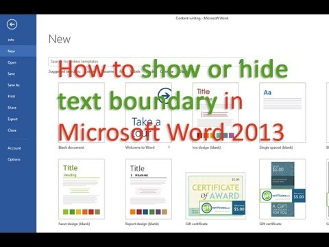 How to show or hide text boundary in Microsoft Word 2013