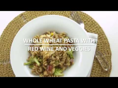 Whole wheat pasta with red wine and veggies