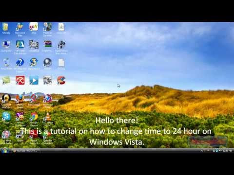 How to change time to 24 hour in Windows Vista HD