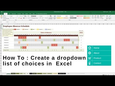 How To : Create a dropdown list of choices in  Excel