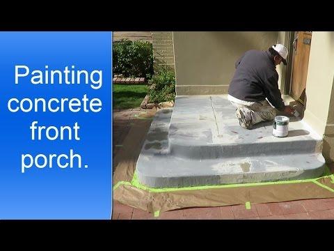 Painting exterior concrete porch.