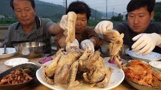 초복을 맞아 옻으로 삶은 [[삼계탕(Chicken Soup with Sumac)]] 요리&먹방!! - Mukbang eating show