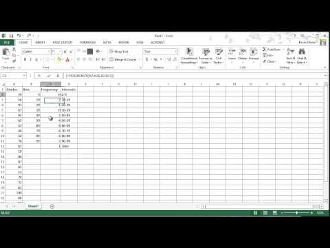 Excel 2013: Frequency Function & Creating Histograms