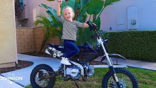 😱4 YEAR OLD GETS NEW DIRT BIKE!🤔 too young?!