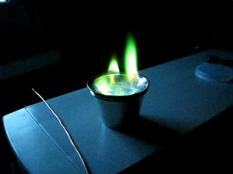 Green fire with copper sulphate