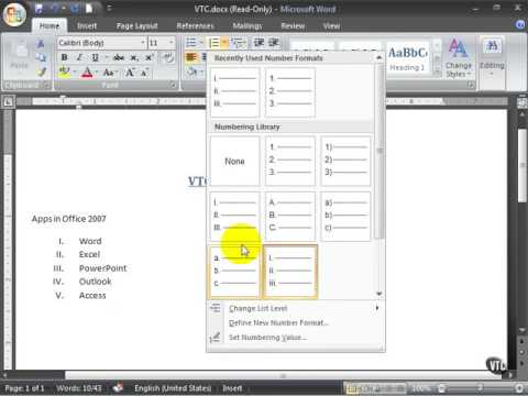 Microsoft Word 2007 ENG TB 04 05 Creating a List