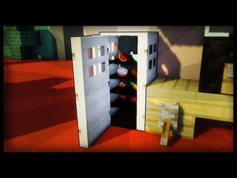 Minecraft: How to make a working fridge (Store food inside it!)