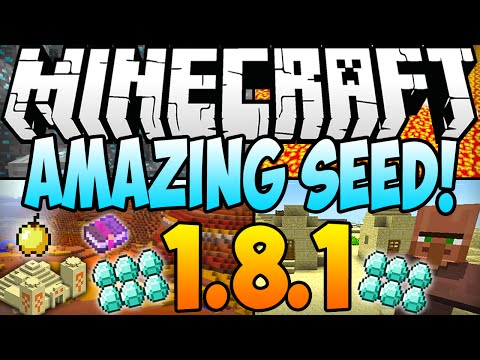 ★ Minecraft 1.8.1 Seeds - DIAMONDS, MESA BIOME, DOUBLE VILLAGE AT SPAWN, 2 DUNGEONS! (1.8.1 Seed)