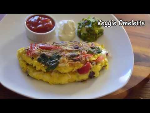 Veggie Omelette | Vegetable omelette | American breakfast omelette