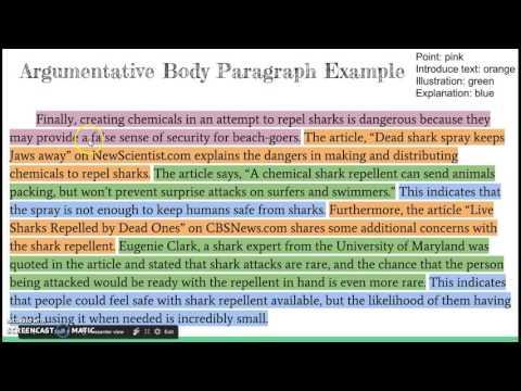 Body Paragraphs for an Argumentative Essay