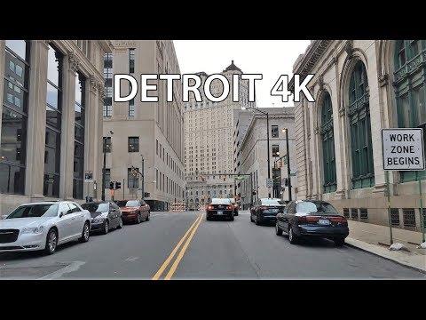 Driving Downtown - Detroit Michigan USA 4K