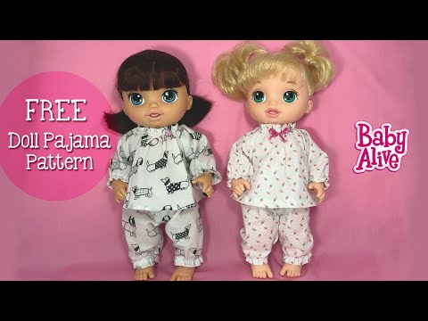 DIY Tutorial Baby Alive Doll Pajamas. Free Pattern
