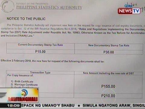 BT: Singil sa ilang dokumento sa PSA tulad ng birth at marriage certicate, tumaas na