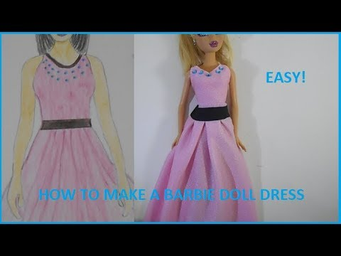 How to make: Barbie Doll Clothes- Long Pink Dress!