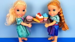 Breakfast buffet ! Elsa and Anna toddlers at the hotel  - vacation trip