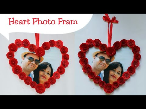 DIY Heart Photo Frame/Making Cardboard Photo Frame/Valentine's day gift idea for hubby/Room Decor