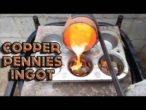 Molten Copper vs Copper Pennies Ingot Treasure