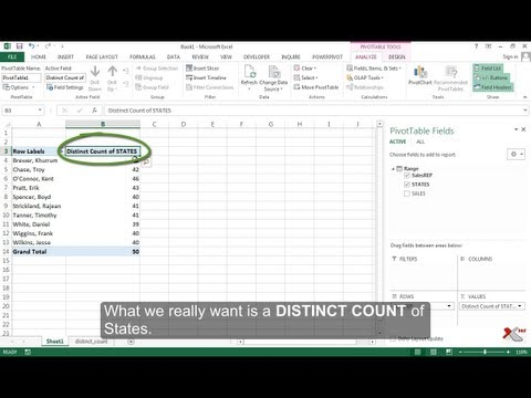 Distinct Count in Pivot Tables - Only in Excel 2013