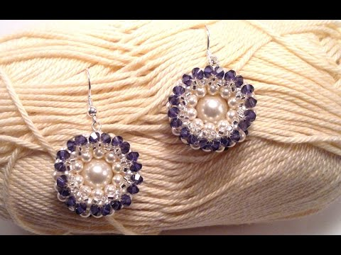 Beading4perfectionists : Donuts earrings with pearl in middle beading tutorial