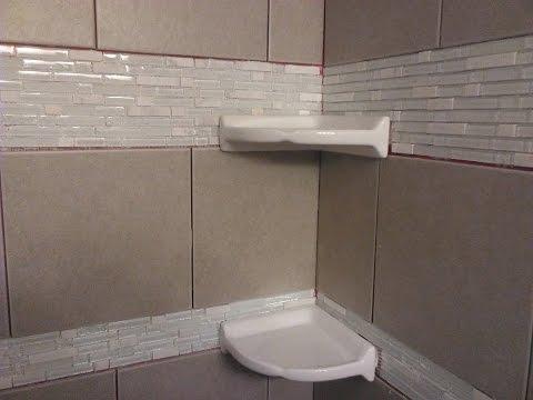 DIY shower tiling: Installing floating corner shelves