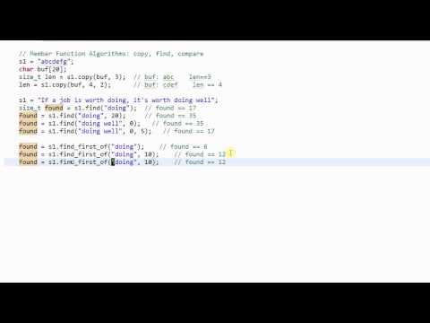 C++ String #3: Member Function Algorithms