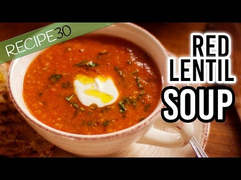 Red lentil Soup with spinach and Rustic Texture for the best comfort food