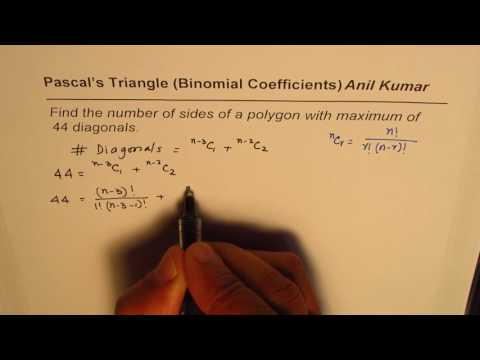 Find the number of sides of polygon with maximum 44 diagonal Binomial Coefficients