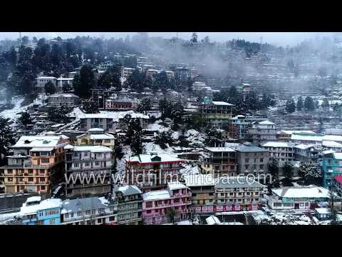 Winter wonderland Reckong Peo: aerial view of Kinnaur district in Himachal