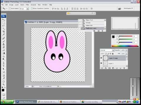 photoshop tutorial: how to make a rabbit using circle and pen tool