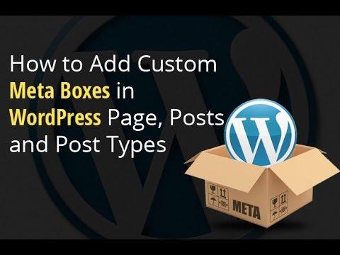 add custom meta box in wordpress page, posts and post types.