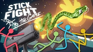 Stick Fight - SNAKE GUNS EVERYWHERE - Stick Fight Multiplayer Gameplay with Drae, Icy, and Kwak