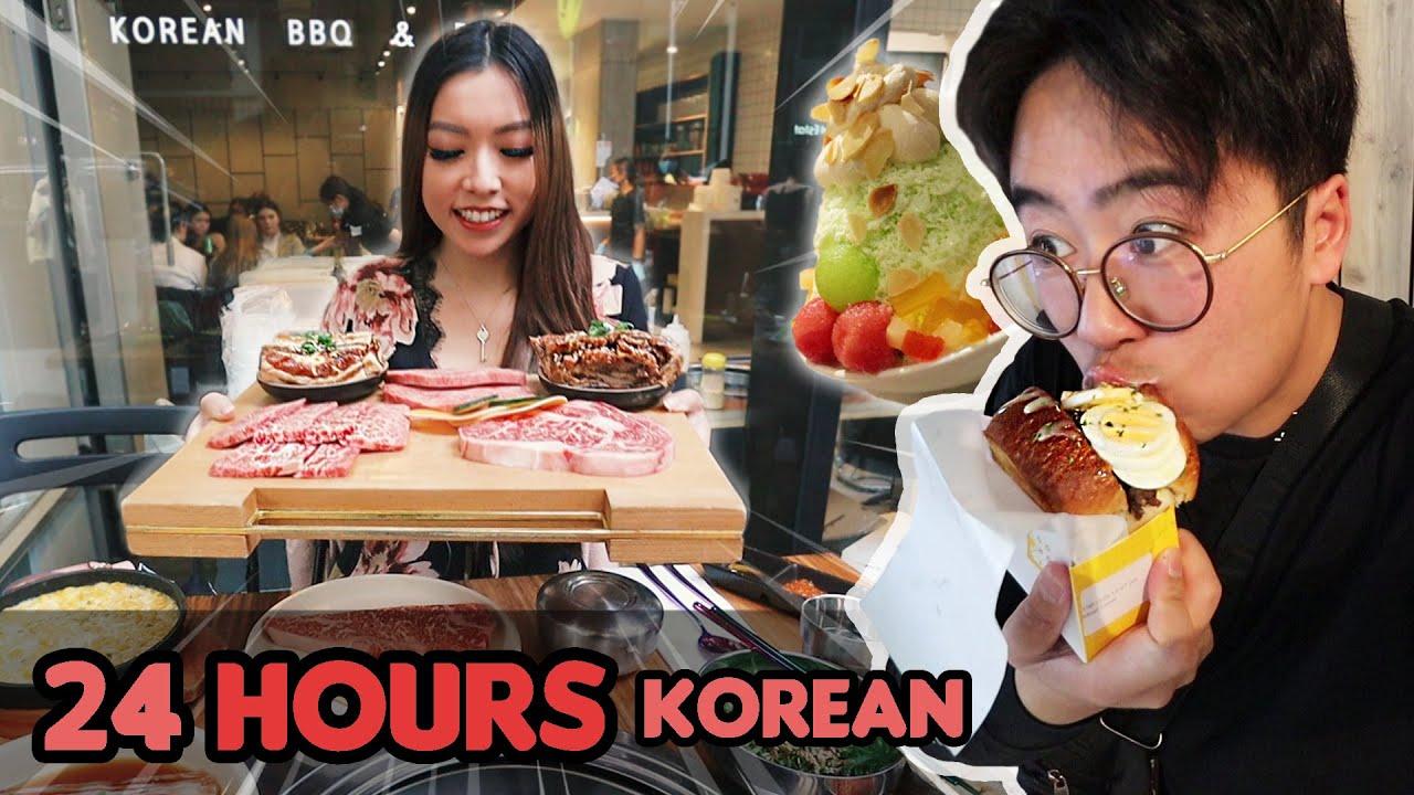 24 Hours of Eating KOREAN Food ft. Egg Toast, KBBQ and Patbingsu!