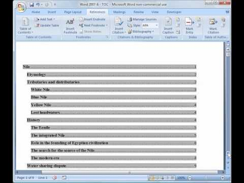 Word 2007 Tutorial 6: Table of Contents