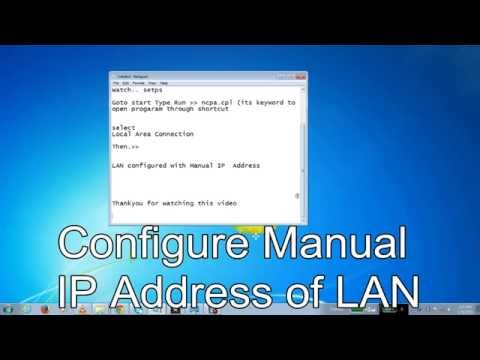How to Configure TCP/IP Local Area Connection in Windows 7/8/XP/Vista