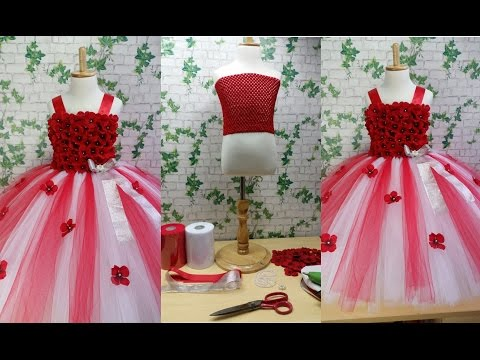 Red & White Flower Girl Tutu Dress Tutorial 0092store