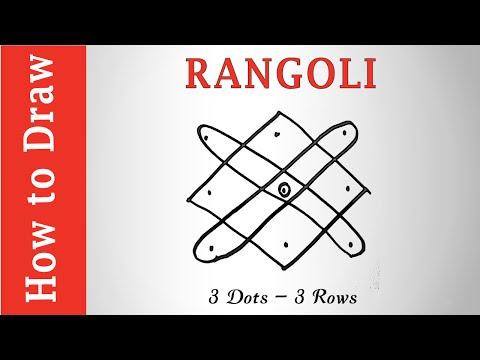 Easy Rangoli Design : 3 Dots - 3 Rows