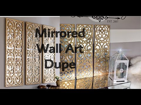 DIY HOME DECOR - HOW TO MAKE A 3 PANEL FAUX MIRROR WALL ART USING A DOORMAT 😱!!